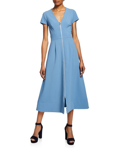 Zip-Front Short-Sleeve A-Line Midi Dress