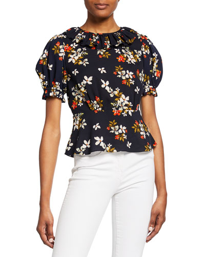 Floral-Print High-Neck Short-Sleeve Ruffle Peplum Top