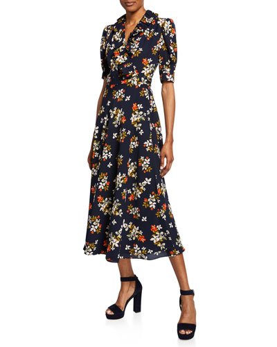 Floral-Print Elbow-Sleeve Midi Wrap Dress