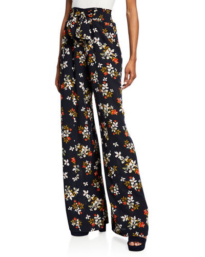 Floral-Print Wide-Leg Pants with Ties