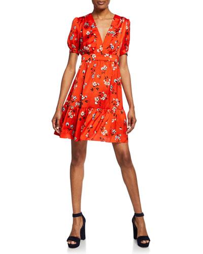 Floral-Print V-Neck Short-Sleeve Mini Dress