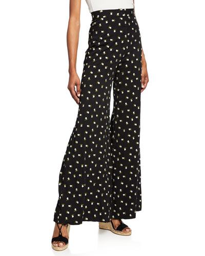 Floral-Embroidered Flare Pants