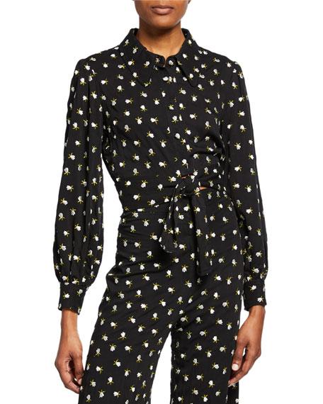 Jill Jill Stuart Floral Button-Front Long-Sleeve Tie-Hem Crop Top