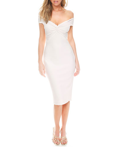 Harlow Shirred Off-the-Shoulder Pebble Crepe Dress w/ Cutout Back