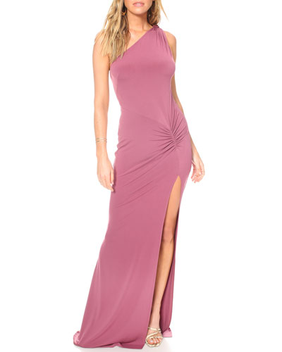 Attention Seeker Draped One-Shoulder Cutout-Back Jersey Gown