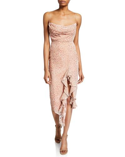 Emilia Cowl-Neck Sleeveless Asymmetric Ruffle Devore Slip Dress