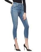 Good American Good Waist Crop Chewed-Hem Jeans -