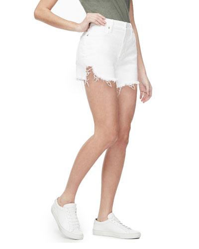 Bombshell Frayed High-Rise Shorts - Inclusive Sizing