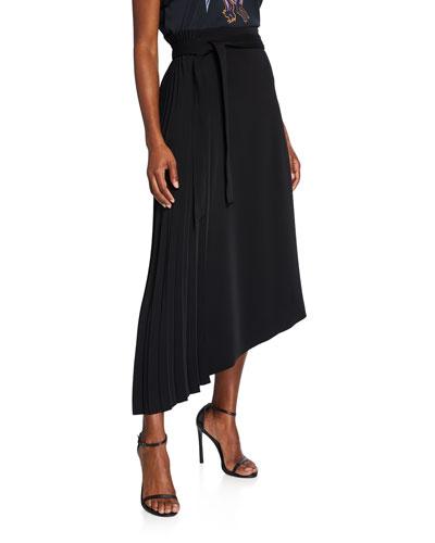 Asymmetrical Pleated Midi Skirt