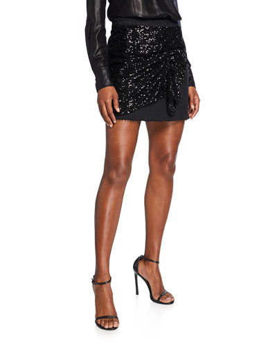 Sequined-Front Denim Mini Skirt
