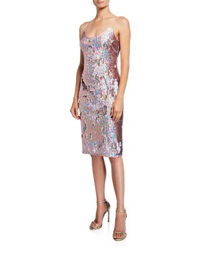 Sequined Sleeveless Scoop-Neck Sheath Dress
