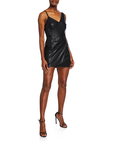 Faux-Leather Mini Tank Dress