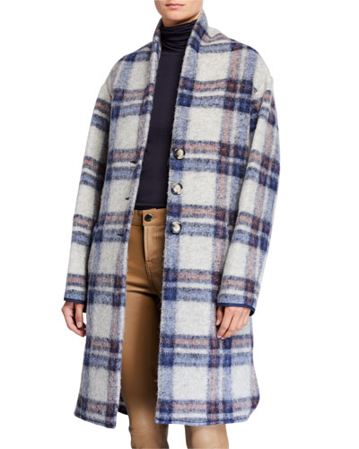 Gabriel Plaid Wool Long Coat