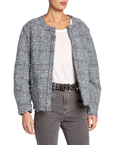 Ovia Collarless Tweed Jacket