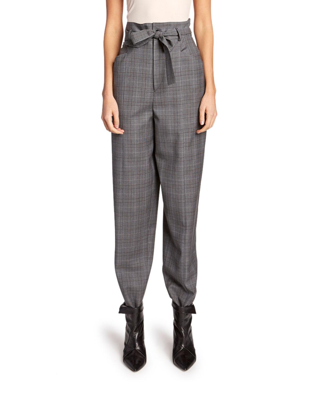 Etoile Isabel Marant Pants VITTORIA HIGH-RISE CHECK WOOL PANTS