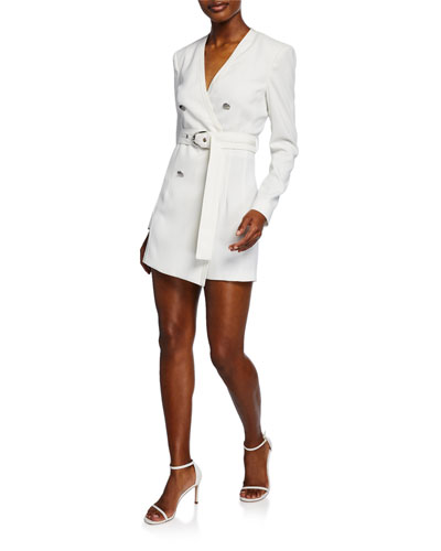Belted Long-Sleeve Stretch Crepe Romper