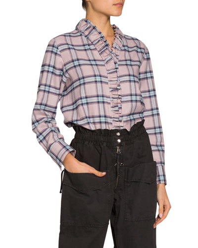 Awendy Plaid Ruffle-Front Shirt