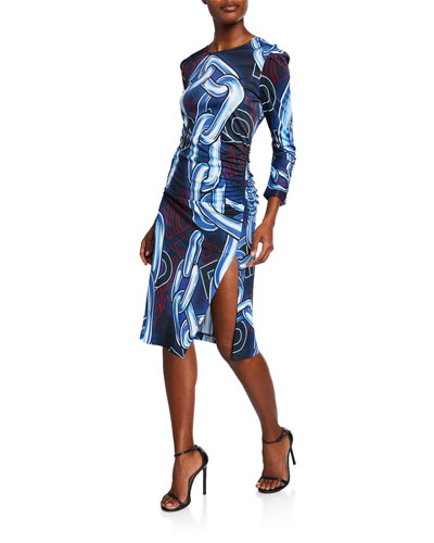 Long-Sleeve Abstract Logo Dress