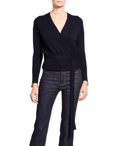 Cashmere Long-Sleeve Wrap Cardigan