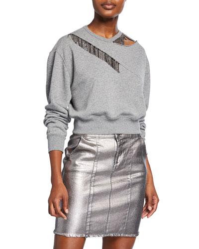 Embellished Crewneck Sweatshirt w/ Cutout