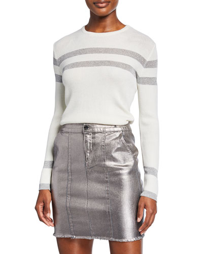 Crewneck Long-Sleeve Metallic Stripe Sweater