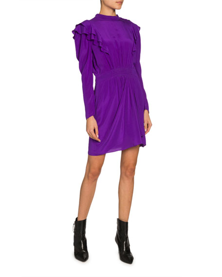 Etoile Isabel Marant Yoana Long-Sleeve Ruffle Short Dress