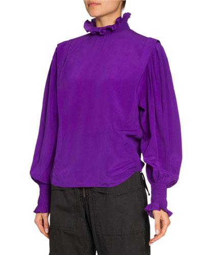 Yoshi High-Neck Silk Blouse