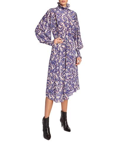 fea589b5993e Asymmetric Silk Print Dress | Neiman Marcus