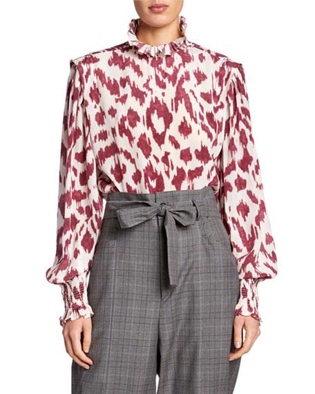 Etoile Isabel Marant Yoshi Printed High-Neck Blouse