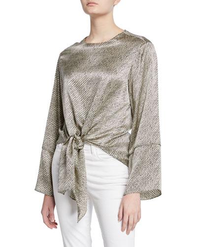 hayden birdseye long-sleeve tie-hem silk blouse
