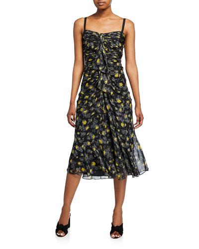 Margot Floral-Print Shirred Midi Silk Dress