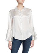 cinq a sept kirby button-down ruffle-sleeve silk blouse