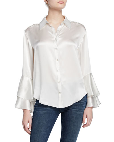 kirby button-down ruffle-sleeve silk blouse