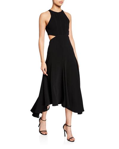 belladonna sleeveless cutout midi dress