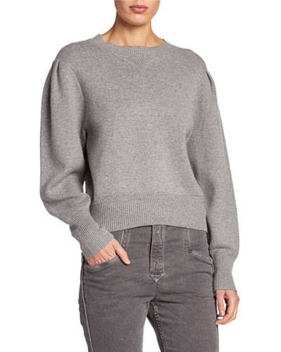 Kelaya Puff-Sleeve Crop Sweater