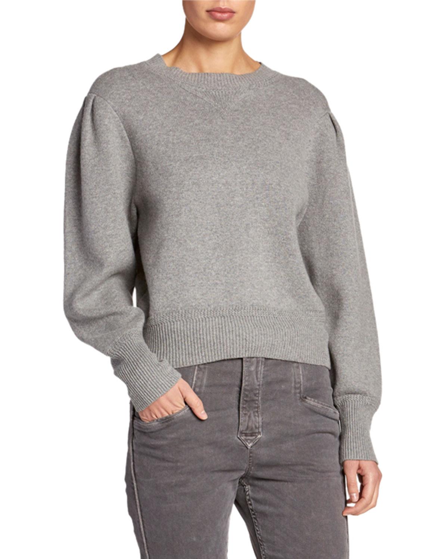 Etoile Isabel Marant Sweaters KELAYA PUFF-SLEEVE CROP SWEATER