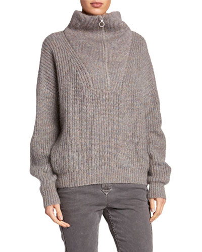Myclan Zip-Front Turtleneck Sweater