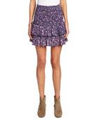 Etoile Isabel Marant Naomi Smocked Floral Tiered Skirt