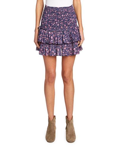 Naomi Smocked Floral Tiered Skirt