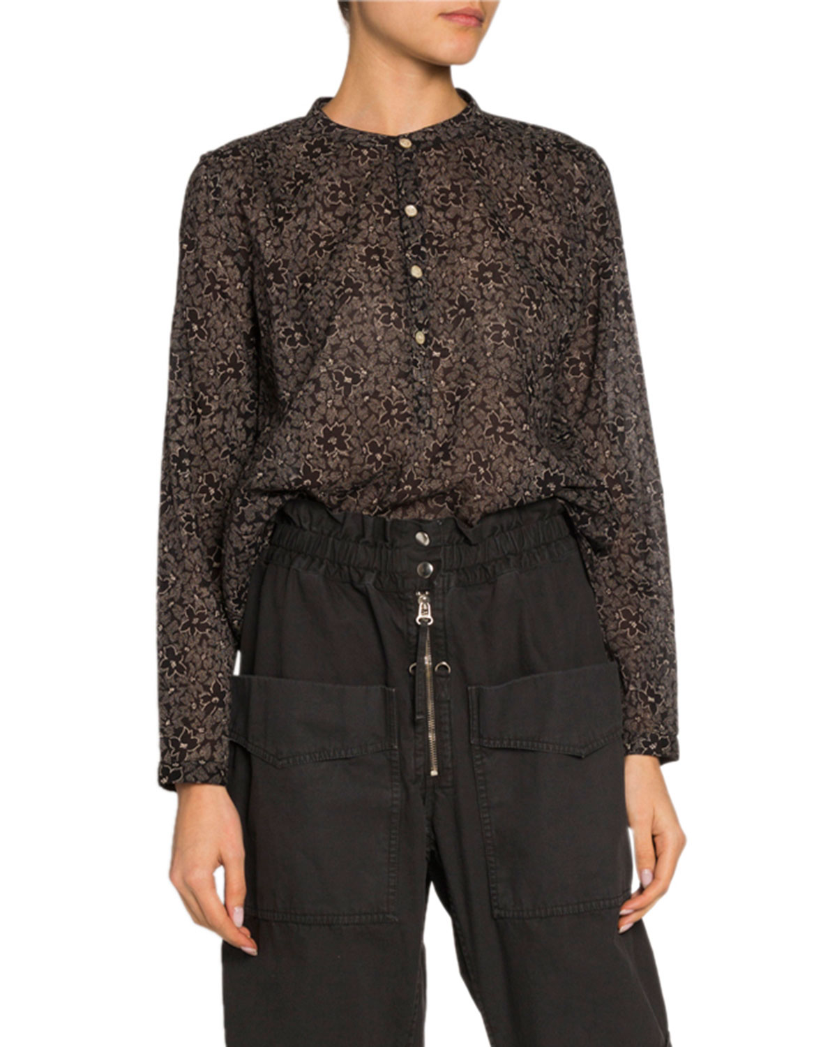 Etoile Isabel Marant Tops MEXIKA FLORAL BAND-COLLAR BUTTON-DOWN TOP