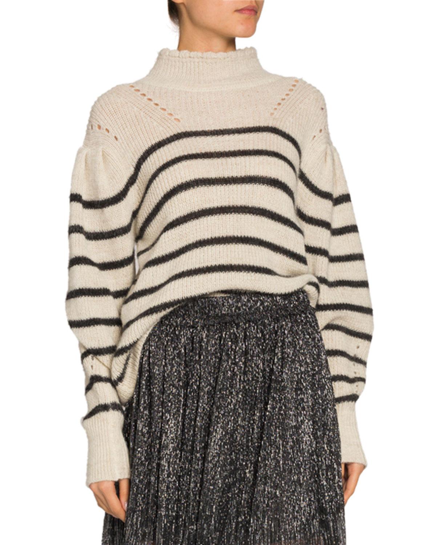 Etoile Isabel Marant Sweaters GEORGIA STRIPED DROP-SHOULDER TURTLENECK SWEATER