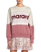 Etoile Isabel Marant Gallian Colorblock Logo Pullover Sweatshirt