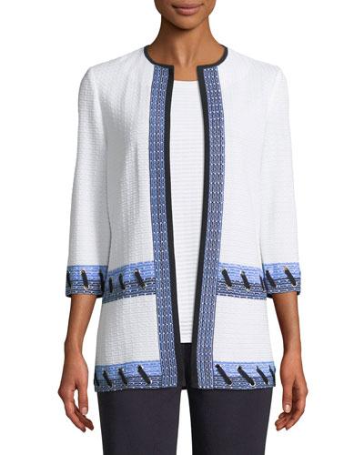Petite Textured 3/4-Sleeve Jacket with Looped Grommet Detail
