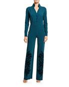 Chiara Boni La Petite Robe Long-Sleeve Tuxedo Jumpsuit