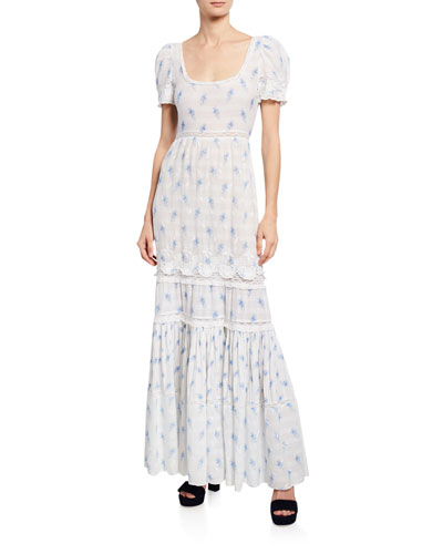 Ryan Short-Sleeve Floral Lace Maxi Dress