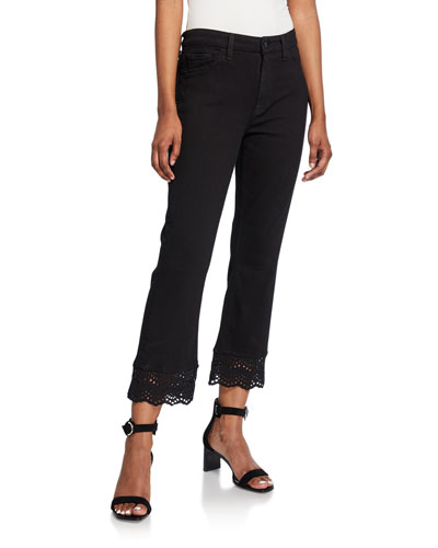 Cropped Boot-Cut Jeans with Eyelet Embellishment