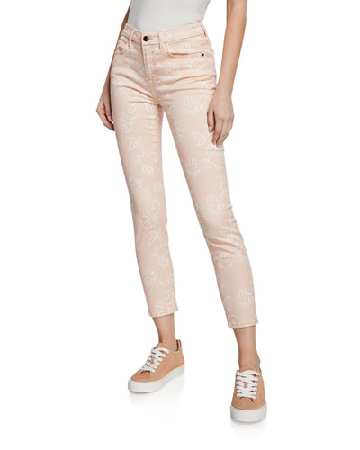 Rose-Print High-Rise Ankle Skinny Jeans