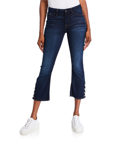 Cropped Boot-Cut Jeans with Side Vents