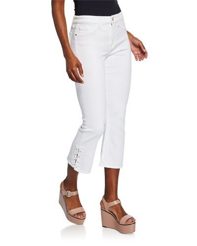 Cropped Boot-Cut Jeans with Lace-Up Vents