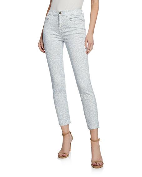 Parker Smith Ava Leaf Print Cropped Skinny Jeans Neiman
